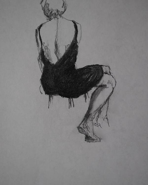 Nude Figure Drawings Female And Male Charcoal Drawings Male And Female Conte Drawings Female And Male Graphite Drawings Female Nude Drawings Male Nude Drawings Theme Drawings Drawings Drawings Poster featuring the drawing Little Black Dress by Chris Riley