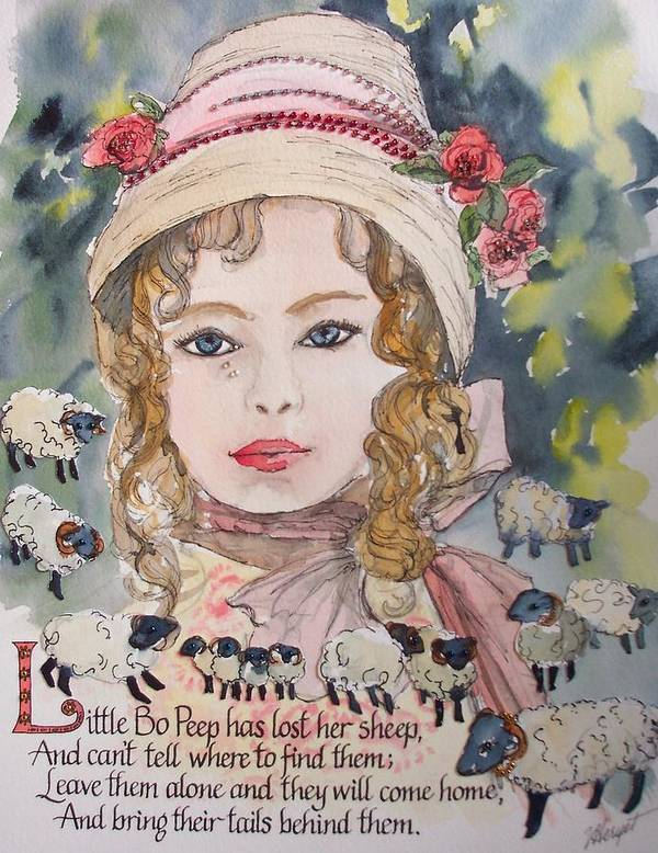 Little Bo Peep Poster featuring the painting Little Bo Peep by Victoria Heryet
