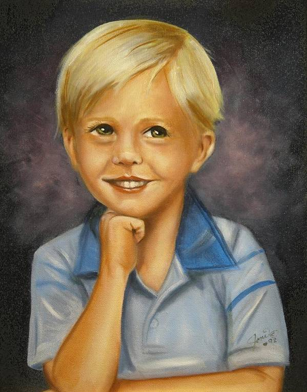 Portrait Poster featuring the painting Little Boy Blue by Joni McPherson