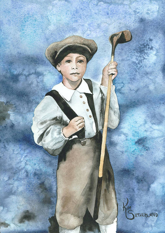 Golfing Poster featuring the painting Little Caddy by Kim Whitton