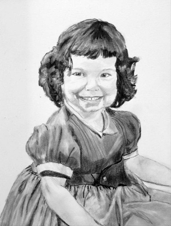 Little Girl Curls Dress Child Children Cute Adorable Poster featuring the drawing Little Cathy by Cathy Jourdan