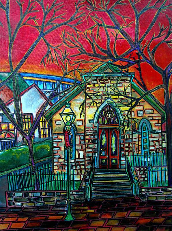 Church Poster featuring the painting Little Church At La Villita by Patti Schermerhorn