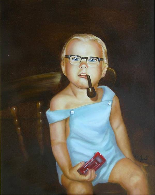 Portrait Poster featuring the painting Little Firefighter by Joni McPherson