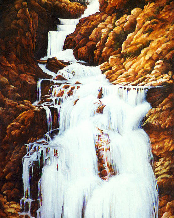 Waterfall Poster featuring the painting Little Firehole Falls by Teri Rosario