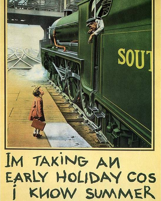 Little Girl Boarding A Train - Vintage Steam Locomotive - Advertising  Poster For Southern Railway Poster