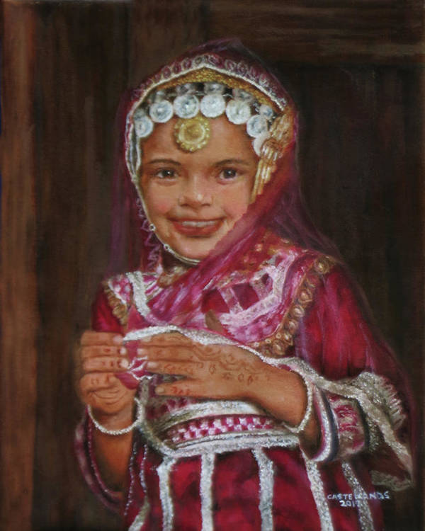 India Poster featuring the painting Little Girl In India by Sylvia Castellanos