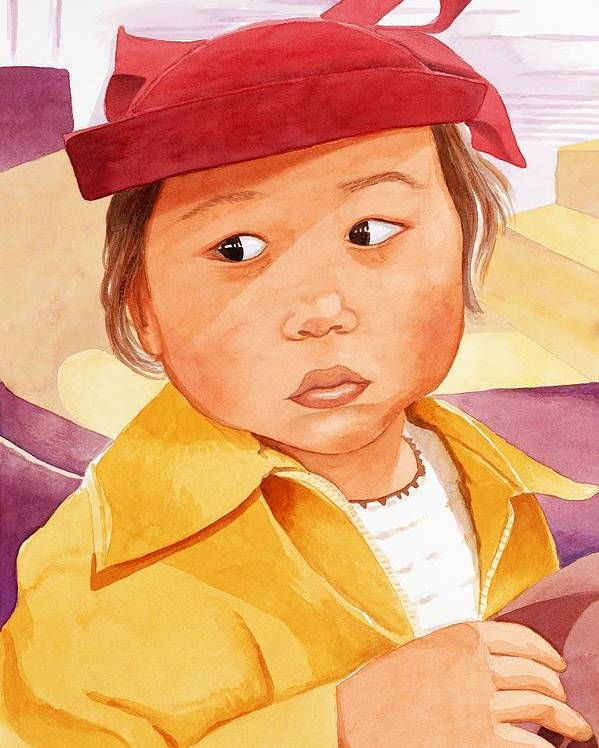 Little Japanese Girl In Red Hat Poster featuring the painting Little Girl In Red Hat by Judy Swerlick