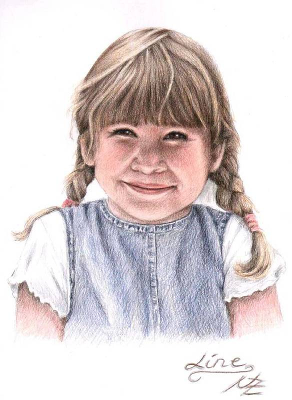 Girl Poster featuring the drawing Little Girl by Nicole Zeug