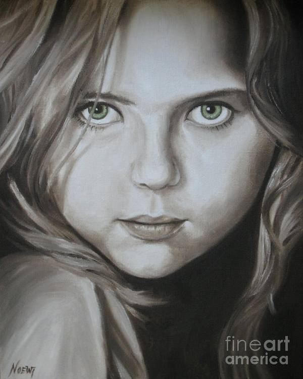 Portrait Poster featuring the painting Little Girl With Green Eyes by Jindra Noewi