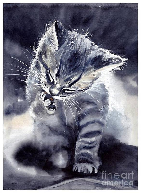 Little Poster featuring the painting Little Grey Cat by Suzann Sines