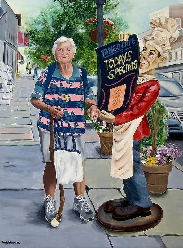 Elderly Woman Poster featuring the painting Little Lady From Saugerties by Judy Swerlick