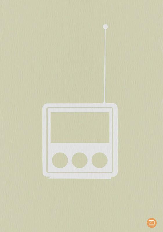 Radio Poster featuring the digital art Little Radio by Naxart Studio