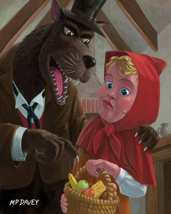 Nursery Poster featuring the painting Little Red Riding Hood With Nasty Wolf by Martin Davey