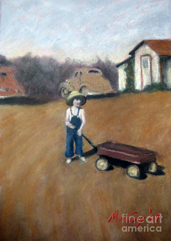 Scene With Old Cars Poster featuring the painting Little Red Wagon by Brian McCoy