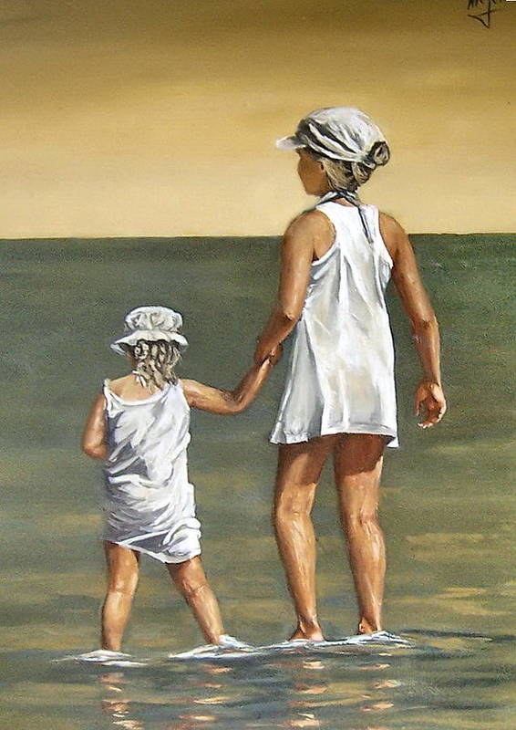 Little Girl Reflection Girls Kids Figurative Water Sea Seascape Children Portrait Poster featuring the painting Little Sisters by Natalia Tejera