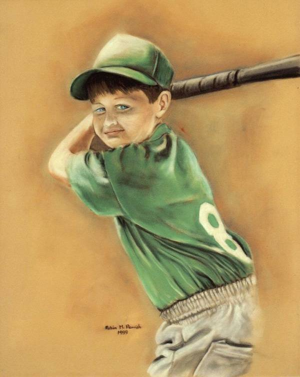 Little Slugger Poster featuring the painting Little Slugger by Robin Martin Parrish
