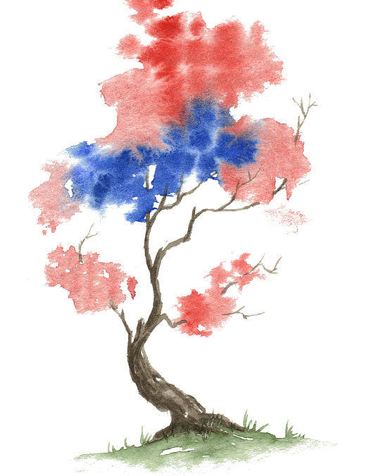 American Poster featuring the painting Little Zen Tree 291 by Sean Seal