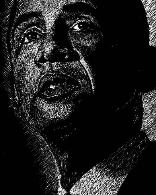 Barack Obama Poster featuring the drawing Living The Dream by Maria Arango
