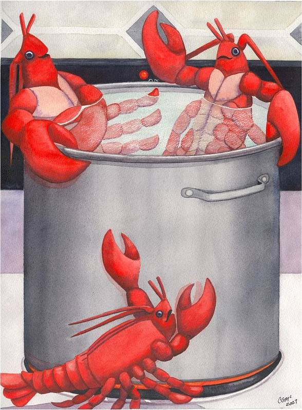 Lobsters Poster featuring the painting Lobster Spa by Catherine G McElroy
