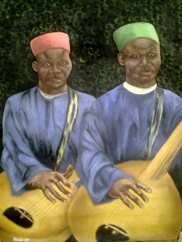 Culture Poster featuring the painting Local African Guitarist by Olaoluwa Smith