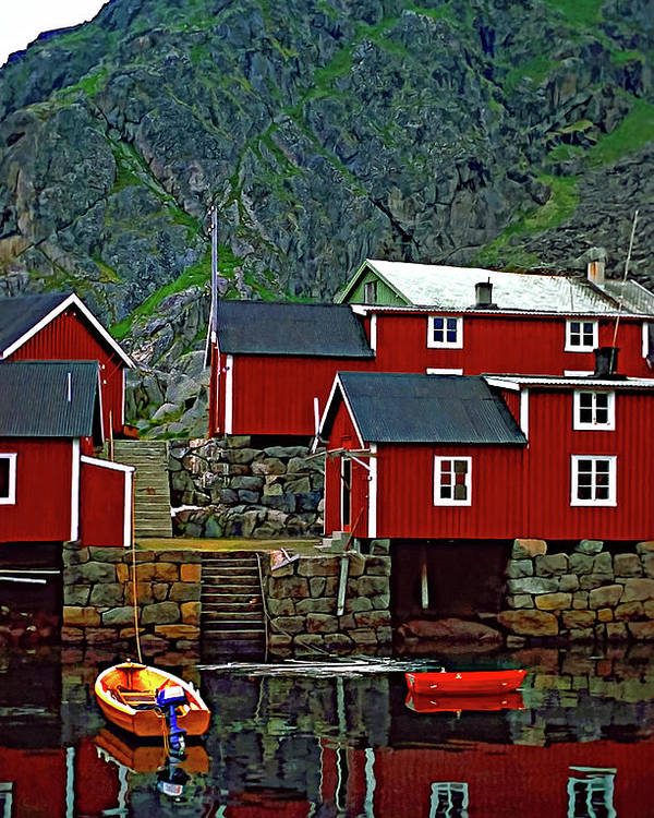 Lofoten Poster featuring the photograph Lofoten Fishing Huts Oil by Steve Harrington