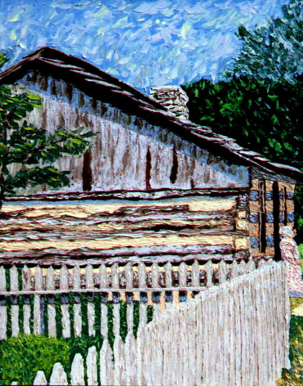 Log Cabin Poster featuring the painting Log Cabin at Conner Prairie by Stan Hamilton