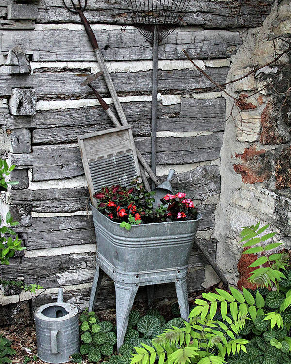 Creative Poster featuring the photograph Log Cabin Garden Scene by Linda Phelps