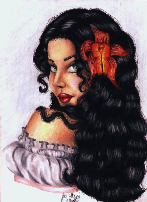 Woman Poster featuring the drawing Lolita by Scarlett Royal