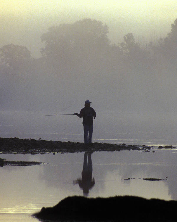 Early Poster featuring the photograph Lone Fisherman by Carl Purcell