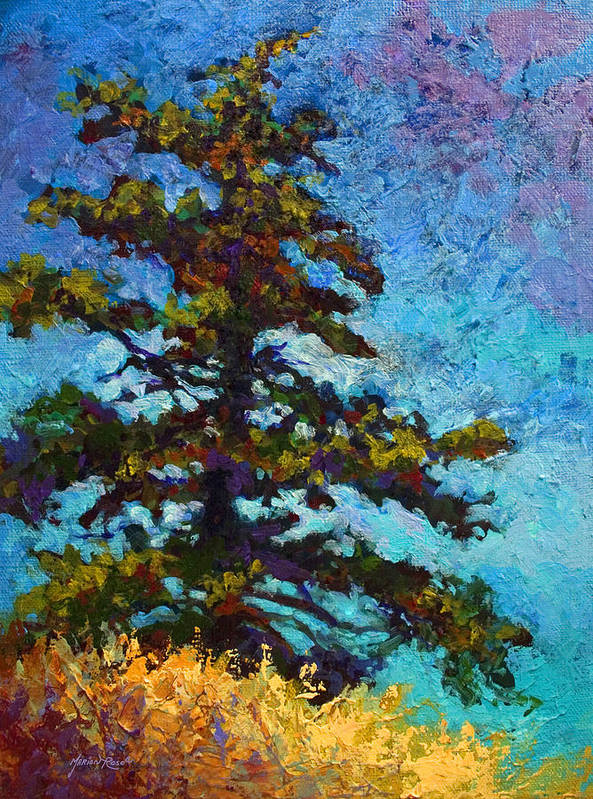 Trees Poster featuring the painting Lone Pine II by Marion Rose