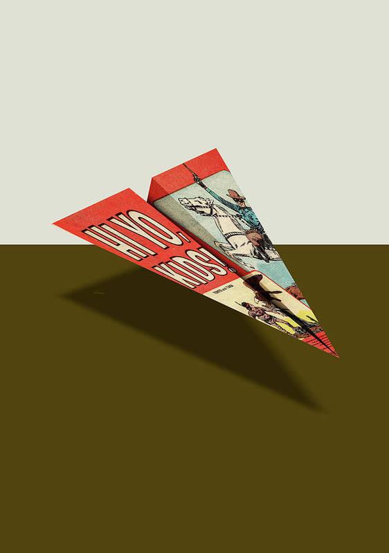 25eee3ab6060 Advertising Poster featuring the digital art Lone Ranger Hi Yo Kids Comic  Book Ad Paper Airplane