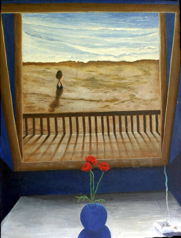 Figurative Poster featuring the painting Lonely Beach by Georgette Backs