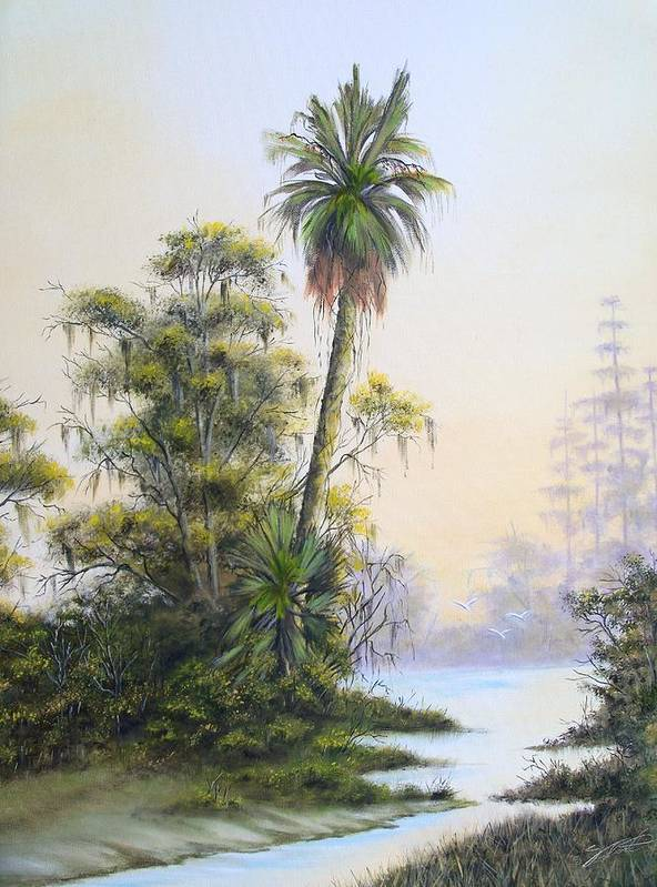 Landscape Poster featuring the painting Lonesome Palm by Dennis Vebert