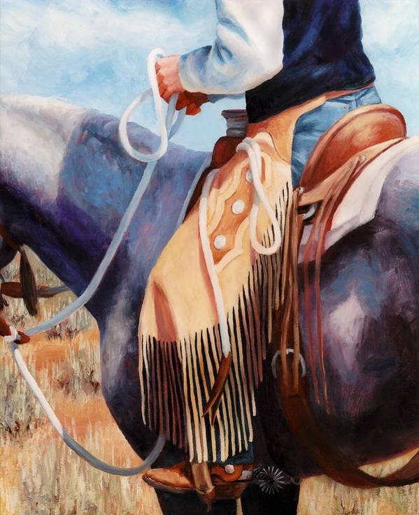 Chaps Poster featuring the painting Long Fringed Chink Chaps Western Art Cowboy Painting by Kim Corpany