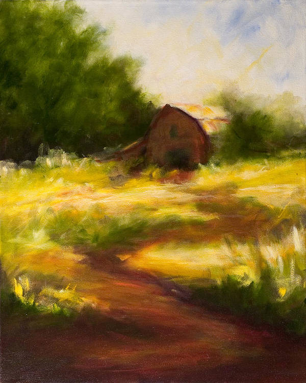 Landscape Poster featuring the painting Long Road Home by Shannon Grissom