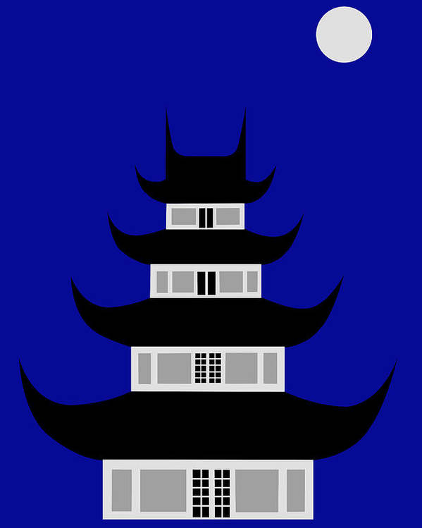 Poster featuring the digital art Longhua by Asbjorn Lonvig