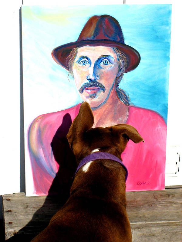 Photograph Of Dog Poster featuring the painting Lookin At You Dad by Asha Carolyn Young and Ron McMath