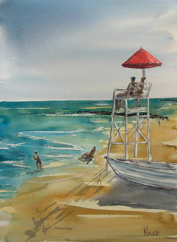 Seascape Poster featuring the painting Lookin Out by Pete Maier