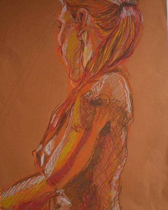Setaed Female Figure Poster featuring the painting Looking Away by Aleksandra Buha