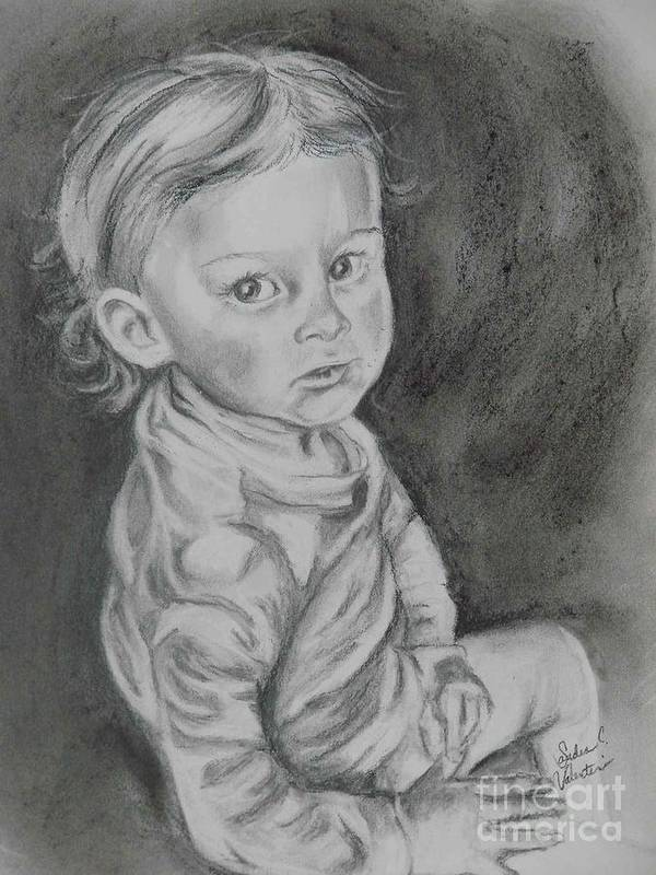 Charcoal Poster featuring the painting Looking For Trouble by Sandra Valentini