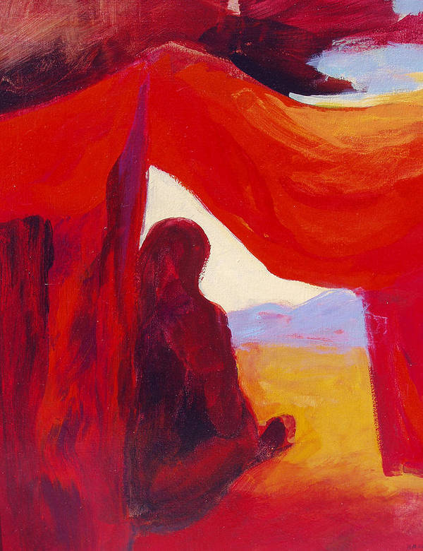 Red Tent Poster featuring the painting Looking Out Of The Red Tent by Renee Kahn