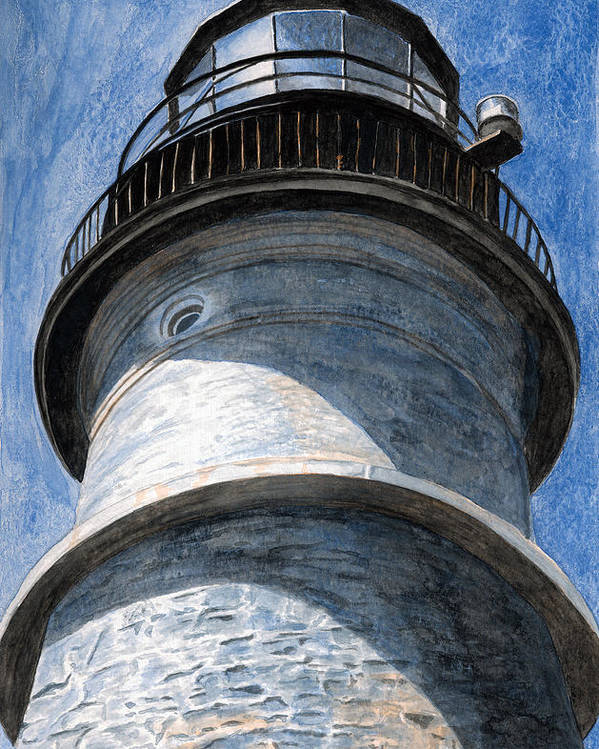 Lighthouse Poster featuring the painting Looking Up Portland Head Light by Dominic White