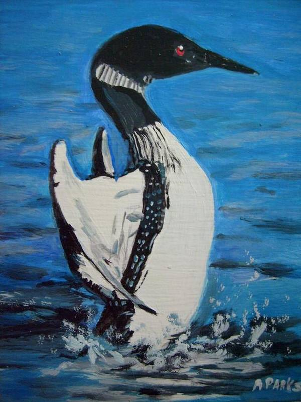 Loon Poster featuring the painting Loon Dance by Aleta Parks