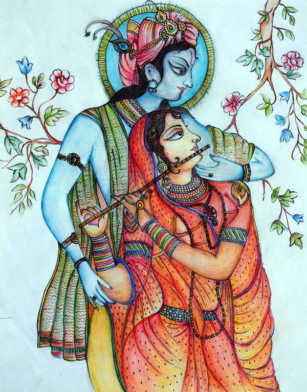 Lord Radha And Lord Krishna Resided In The Holy Lushes Of Vrindavana Along With Sakhis. Sri Radhaji Is The Eternal Everlasting Beauty And The Trinity Divine Is Sri Krishna. Lord Sri Krishna Admires The Soul Of Love With Honor And Passionate Emotions. Poster featuring the painting Lord Radha Krishna's Divine Love by Kavita Sarawgi