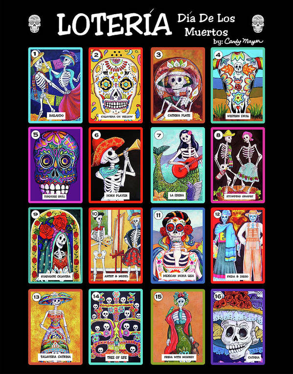 loteria dia de los muertos poster by candy mayer