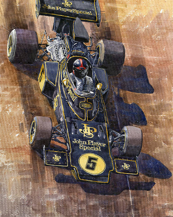 Watercolour Poster featuring the painting Lotus 72 Canadian Gp 1972 Emerson Fittipaldi by Yuriy Shevchuk