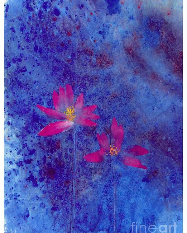 Free Style Lotus Flowers In Dreamy Blue Background. This Is A Contemporary Chinese Ink And Color On Rice Paper Painting With Simple Zen Style Brush Strokes.  Poster featuring the painting Lotus II by Mui-Joo Wee