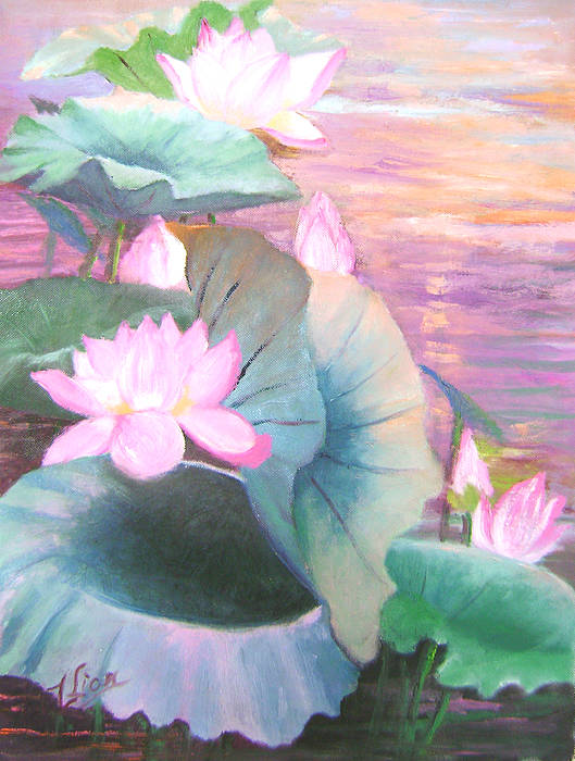 Flora Poster featuring the painting Lotus Solo by Lian Zhen