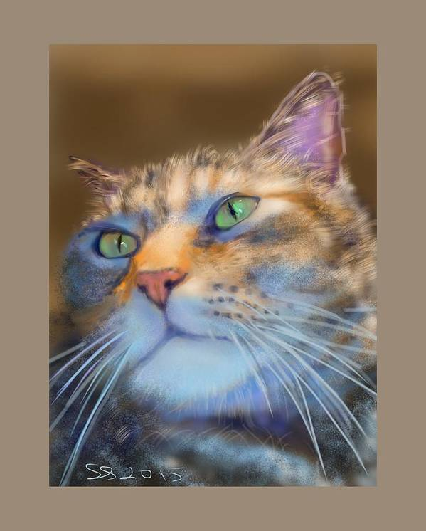 Cat Poster featuring the painting Louanne by Susan Sarabasha