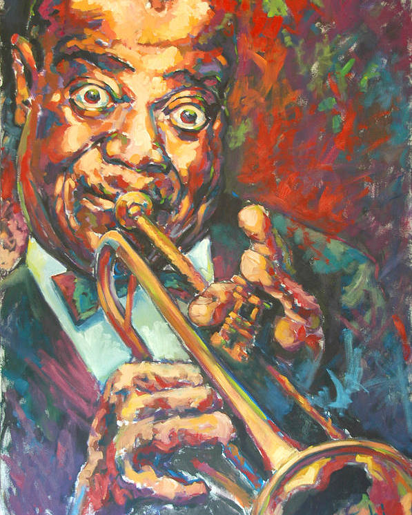 Louis Armstrong Poster featuring the painting Louis Armstrong by Tachi Pintor